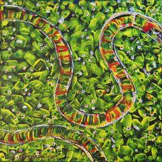 Slangen akryl på lærred  (40x40) 2015 af Svend Christensen