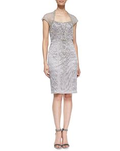 T8SKW Sue Wong Embroidered Lace Cap-Sleeve  Cocktail Dress