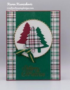 Stampin & # Up! Perfect plaid for the Hop Christmas Cards 2018, Stamped Christmas Cards, Homemade Christmas Cards, Christmas Greeting Cards, Homemade Cards, Handmade Christmas, Holiday Cards, Christmas Tables, Prim Christmas