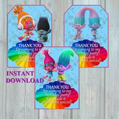 Free Printable Trolls Thank You Cards Birthday Party