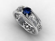 Blue sapphire ring filigree, diamond ring, engagement, lace, blue engagement, sapphire, wedding ring, bridal, anniversary. $2,449.00, via Etsy.