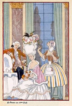 1928. 18th century France by George Barbier. (The Romance of Perfume.)