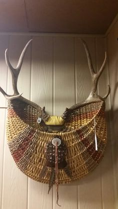 Muley full rack...multi colored. Pheasant and turkey feathers pine lake antler baskets on FaceBook