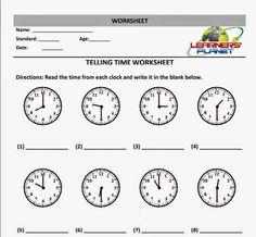 Image Result For Telling Time Math Worksheet Generator