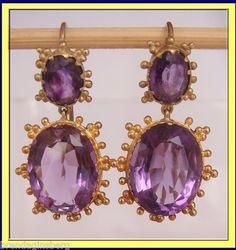 Antique Georgian Regency Earrings c1820 Gold Amethyst Drops