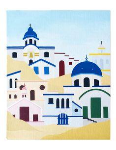 Mykonos, Greece   #beach #house #tropical #summer #art #painting #greece #mykonos #santorini #arte #artist #canvas #wallart #decoration #paintings #blue #acrylicpainting #colors #sky #buildings #houses #colorful #houses