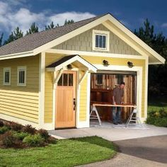2010 Shed DIY Shed. I LOVE this as a shed (perfect size ) OR maybe a guest 'house'. If a guest house a huge window in place of the garage. Diy Shed Plans, Storage Shed Plans, Built In Storage, Barn Plans, Garage Storage, Diy Storage, Garage Shed, Garage Plans, Garage Ideas