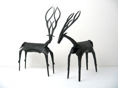 "Pair of 12"" Mid-Century Modernist Iron Sculptures - Antelope / Deer / Eland Table / Mantel Art Figural Sculptures. $130.00, via Etsy."