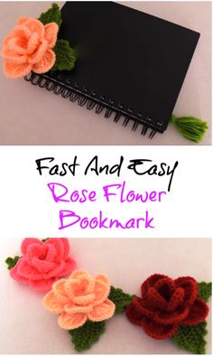 fast and easy rose flower bookmark