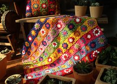 Floral BlanketGranny Square Crochet Sofa Throw AfghanGift
