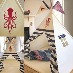 We changed up this teepee to suit a boy who LOVES sea-creatures! Changing out the usual anchor over the doors for a squid 🦑 will be sure to delight! -To discuss a personalized order contact us via our website (link in bio) -