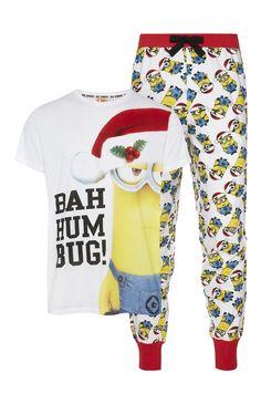Mens 12 Primark - Minions Bah Hum Bug Christmas PJ Set
