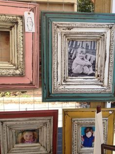 Distressed Painted Picture Frames in 2020 Frame Crafts, Diy Frame, Wood Crafts, Distressed Picture Frames, Painted Picture Frames, Vintage Picture Frames, Old Frames, Painting Frames, Chalk Paint