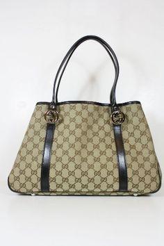 Gucci Handbags Beige Fabric And Black Leather Clothing Impulse Purses