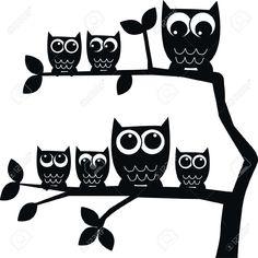 13195506-owl-family-owls--Stock-Vector-silhouette.jpg (1296×1300)