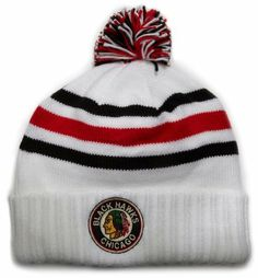 NHL Team Classics Cuffed Knit Hat With Pom, Chicago Blackhawks, One Size Fits All Reebok. $19.99