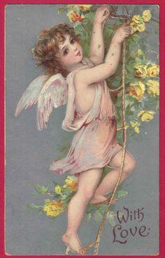 free angel postcard image | ... CHERUB ANGEL ROPE YELLOW ROSES VALENTINE POSTCARD SILVER BACKGROUND