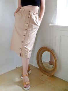 Vintage Skirt Pastell colored Sand Nude tones von SuitcaseInBerlin