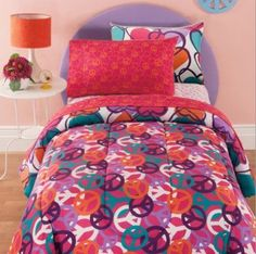 Hearts & Peace Signs, Girls Reversible Full Size Comforter Set (8 Piece Bed In A Bag) //Price: $47.27 & FREE Shipping //     #bedding