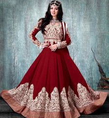 NAVIKA AYESHA TAKIA MUGHAL PRINCESS LOOK MAROON WEDDING ANARKALI .......RTNV9005F... Rs.6,275.00
