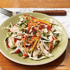 Packaged angel hair slaw and matchstick-cut carrots speed preparation for weeknight cooking.