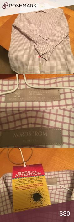 Nordy Men's dress shirt Men's dress shirt.  The cleaner says there is a stain I can't find it. My husband is an impeccable dresser so his clothes are well taken care off. Price reflects the stain. Trim fit 17  32-33 Nordstrom Shirts Dress Shirts