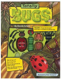 ''Totally Bugs'' Set for Kids by Dennis Schatz and Peter Georgeson | Bass Pro Shops // This fun-filled, interactive set includes a 32-page book and more than 40 pieces to make five different bugs - a black ant, stag beetle, ladybug, greenbottle fly, and orb weaver spider. #childrensbook #naturelovers #outdoorkids #getoutside