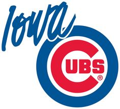 Iowa Cubs Primary Logo (1998) - The Chicago Cubs logo with Iowa written in blue in the top left
