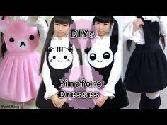 4 DIY Pinafore Dresses: DY Neko Atsume Dress + Panda Dress + Rilakkuma Dresses - YouTube