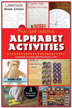 Fun and creative alphabet activities to help kids learn their letters, including hands-on activities, free printables, and lots of inspiring ideas! #ece || Gift of Curiosity