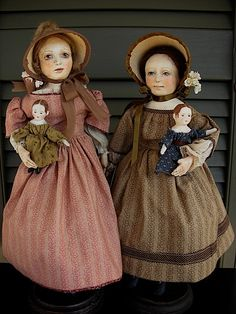 Two young ladies showing off their Izannah dolls~ two of my Early Style Dolls ~ Rebecca Kerin Folk Art Dolls