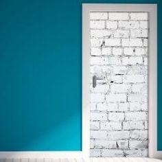 Door Cover White Bricks Muro in mattoni bianchi Vinyl Door Sticker Adesivo da Porta