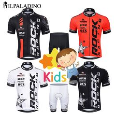 ILPALADINO Children Cycling Jersey Set Boys Bike Clothing Shorts Sets Kids Team Bicycle Ropa Ciclismo/Breathable and Quick Dry