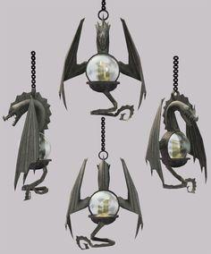 Hanging dragon lanterns.