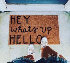 hey what's up hello - fun doormat
