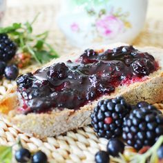 Midnight Jam - blackberries + black currant jam, seems they add butter to the ingredients. my mouth is watering...