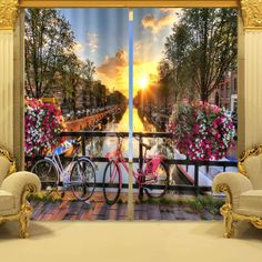 Exquisite City in Sunset Print 3D Blackout Curtain on sale, Buy Retail Price 3D Curtains at Beddinginn.com