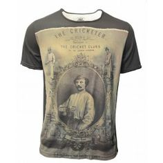 BOLONGARO TREVOR Cricketer print T-Shirt featuring our T shape back panels. Includes a raw edge finish, our V shaped back yoke and hawk embroidery with secret inside 'dinner money' pocket. This style is finished with a vintage wash. 100% Cotton
