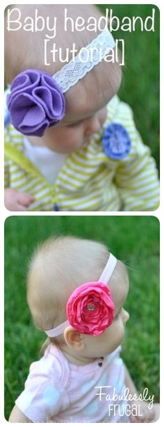 These headbands for baby are so easy!  The step by step instructions make this totally doable!  Instructions for felt and satin flowers.   http://fabulesslyfrugal.com/2012/06/baby-headbands-tutorial-for-3-headbands.html