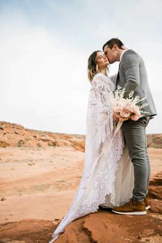 This insanely epic Slot Canyon Elopement in Arizona is the perfect inspiration for all your boho desert vibe elopement dreams! Elopement Dress, Slot Canyon, Boho Wedding, Dream Wedding, Groom And Groomsmen Attire, Intimate Weddings, Arizona, Wedding Photos