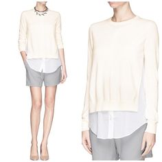 Theory sweater/shirt combo Gorgeous and comfy top. Has a lovey cashmere sweater detail in the front. Received as a gift but just didnt work for me. One barely there flaw on the side (from store sensor). Offers welcome through offer tab. No trades. Theory Sweaters