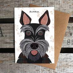 Scottie dog Greetings Card by SimonHartArtist on Etsy