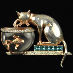 Anthony Sterling Cat Invisibly Set Aquamarines & Jelly Belly Fish Bowl Pin