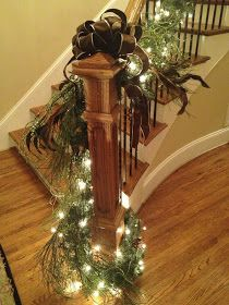 Southern 'n Sassy: Christmas Garland On the Stairs