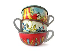 Tin Toy Teacups - Instant COLLECTION - Set of 3 Pieces. $32.00, via Etsy.