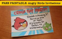 Free printable angry bird invites