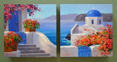 What is Your Painting Style? How do you find your own painting style? What is your painting style? Oil Painting Trees, Oil Painting Abstract, Painting Flowers, Oil Paintings, Watercolor Landscape, Landscape Paintings, Multiple Canvas Paintings, Greece Painting, Greece Art