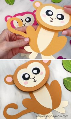 This monkey card is a fun animal craft kids can make for birthdays, Mother's Day, Valentine's Day or kist for fun! Animal Crafts For Kids, Craft Kids, Easy Paper Crafts, Fun Crafts For Kids, Crafts To Make, Monkey Crafts, Sheep Crafts, Bunny Crafts, Monkey Template