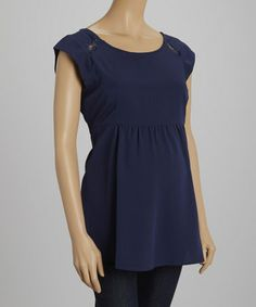 Another great find on #zulily! Navy Lace Maternity Cap-Sleeve Top by Oh! Mamma #zulilyfinds