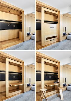 In this small modern apartment, a narrow cavity between the kitchen shelves and the wall hides the fold-out dining table. Modern Small Apartment Design, Apartment Interior Design, Modern House Design, Modern Interior Design, Tiny Spaces, Small Apartments, Small Condo, Small Small, Home Decor Bedroom